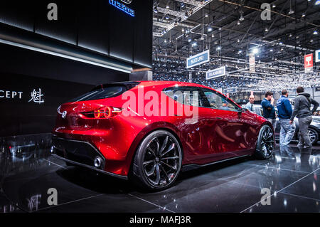 GENEVA, SWITZERLAND - MARCH 17, 2018: MAZDA KAI CONCEPT   Superfast sports car presented at the 88th Geneva International Motor Show. - Stock Photo