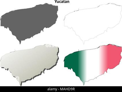 Yucatan blank outline map set - Stock Photo