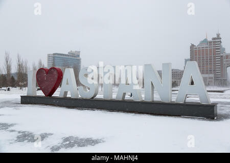 Astana, the capital of Kazakhstan. This city will be the site of Expo 2017. Photo taken in a cold winter day. - Stock Photo