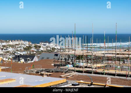 affordable housing project being built on a greenfield site in perranporth, cornwall, england, uk. - Stock Photo