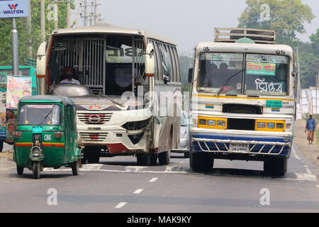 Dhaka 2018. Broken front glass of bus on the road in Dhaka. - Stock Photo