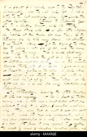 Describes Mr. Falk's tales of B.G. Stone.  Transcription: 1 in front of a cascade near to the Dog Hole. Subsequently, when the girls had left, I had a bathe in the last mentioned place, but found the water ice-cold. Returned to Palenville by 5, to a chicken dinner, and old Falk. He knows [B.G.] Stone well, [word crossed out] as also little [N.G.] Shepherd, who boarded at this tavern for some time. Of the Picturesque One he told many stories, not altogether to his credit. Stone [word crossed out] got the keeper of the store here to endorse a note for $100, and the man had to pay the money. This - Stock Photo