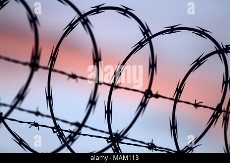 Richmond, British Columbia, Canada. 15th Jan, 2014. A high-security fence topped with both razor and barbed wire. Credit: Bayne Stanley/ZUMA Wire/Alamy Live News - Stock Photo