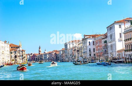 Grand Canal Boats Gondolas Public Ferries Venice Italy - Stock Photo