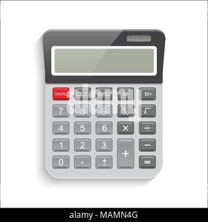 Realistic calculator isolated on white background. Vector EPS10 illustration. - Stock Photo