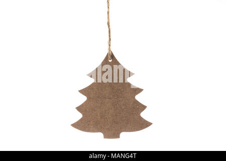 Wooden Christmas tree with star for decoration isolated on a white background - Stock Photo
