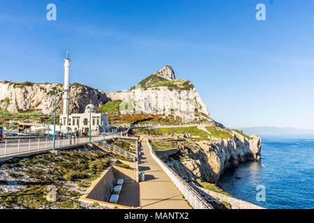 Ibrahim-al-Ibrahim Mosque by the sea in Gibraltar, British overseas territory - Stock Photo