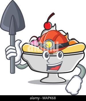 Miner banana split mascot cartoon - Stock Photo