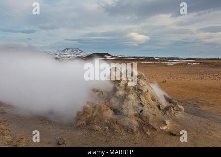 Steaming fumarole at Krafla Caldera, Namafjall, Iceland - Stock Photo