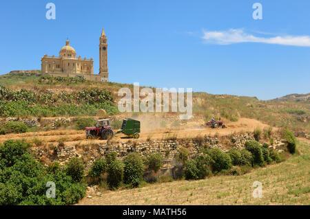 Ta' Pinu church near Gharb in Gozo, Malta, Europe - Stock Photo
