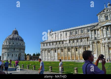 Pisa, Italy, Tuscany August 30 2014. Piazza del Duomo, also known as Piazza dei Miracoli. UNESCO World Heritage Site since 1987. - Stock Photo