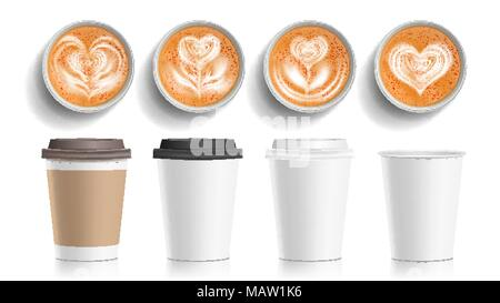 Coffee Cups Art Top View Vector. Plastic, Paper White Empty Fast Food Take Out Coffee Menu Mugs. Various Ocher Paper Cups. Breakfast Beverage. Realistic Isolated Illustration - Stock Photo