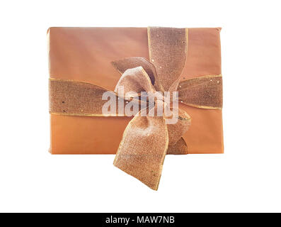 Large brown gift box, Gift box or present wrapped with kraft paper and a large ribbon isolated on white background - Stock Photo