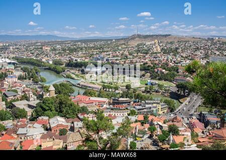 Panoramic view of Tbilisi city in Georgia Europe - Stock Photo