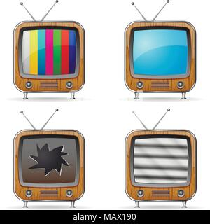 Vector retro TV icons with various screens. - Stock Photo