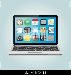 Modern laptop with app icons on screen - Stock Photo