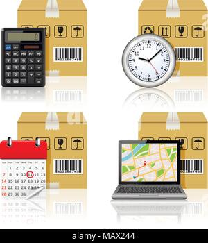 Logistics icons with reflection isolated on white background - Stock Photo