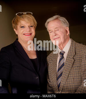 Eddie Izzard pictured with his father at the De La Warr Pavilion , Bexhill. - Stock Photo
