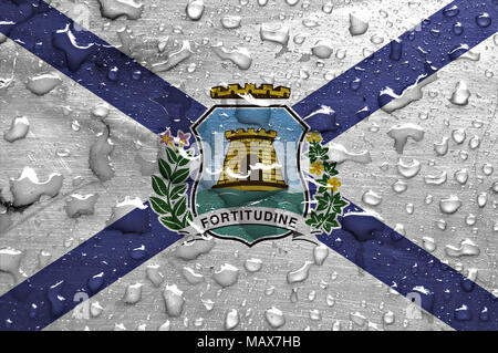 flag of Fortaleza with rain drops - Stock Photo