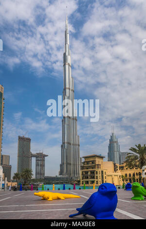 The Burj Khalifa tall building in downtown Dubai, UAE, Middle East. - Stock Photo