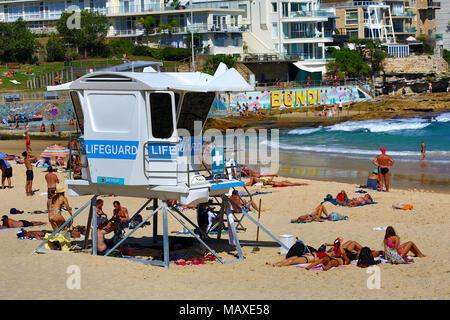 Lifeguard station on Bondi Beach, Sydney, New South Wales, Australia - Stock Photo