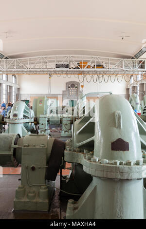 A view inside the pump house at the R. C. Harris Water Treatment Plant in Toronto, Ontario, Canada. - Stock Photo
