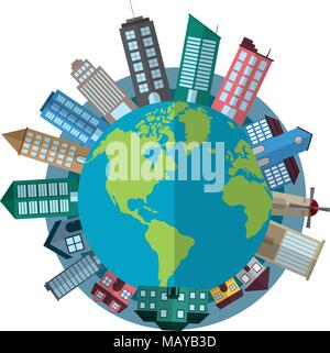 global planet with architecture buildings and houses - Stock Photo