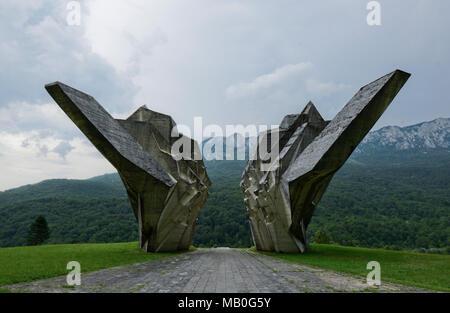 Tjentiste War Memorial, Sutjeska National Park, Bosnia and Herzegovina - Stock Photo