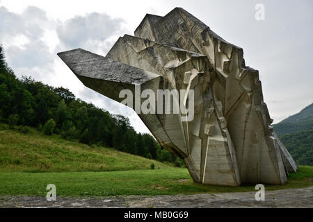 Tjentiste War Memorial, Sutjeska National Park, Bosnia and Herzegovina - Stock Photo