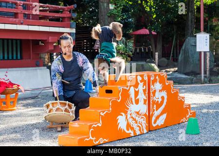 Japan, Hoshu, Tokyo, Asakusa, Asakusa Kannon Temple aka Sensoji, Performing Monkey Show - Stock Photo