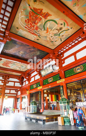 Japan, Hoshu, Tokyo, Asakusa, Asakusa Kannon Temple aka Sensoji, The Main Hall - Stock Photo
