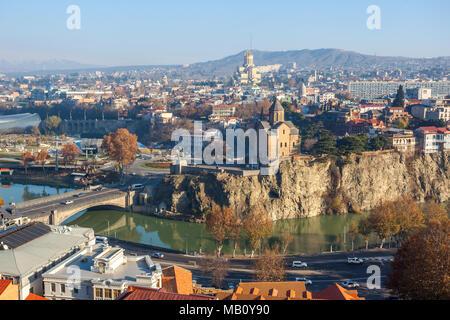 The Panoramic View Of Tbilisi, Sameba, Metekhi,  autumn, Georgia, Europe - Stock Photo