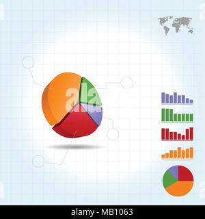 3D Pie Chart infographic four points - Stock Photo