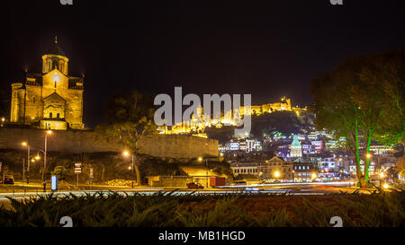 Night View Of The Metekhi Church, The Equestrian Statue Of King Vakhtang Gorgasali and fortress Narikala In Old Historic District Of Tbilisi Georgia. - Stock Photo