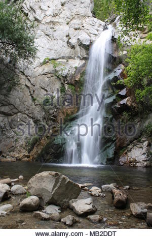 Sturtevant Falls in San Gabriel Mtns. near Chantry Flats, Los Angeles, CA - Stock Photo
