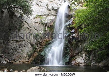 Sturtevant Falls in San Gabriel Mtns. near Chantry Flats, Los Angeles, CA - Stock Photo