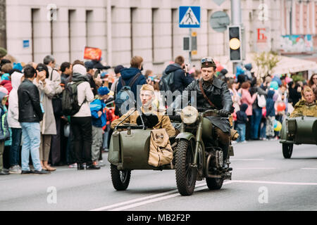 Gomel, Belarus - May 9, 2017: Parade Of Russian Soviet Military Warfare Of WW2 Time With Re-Enacors Dressed As Red Army Soldiers - Stock Photo