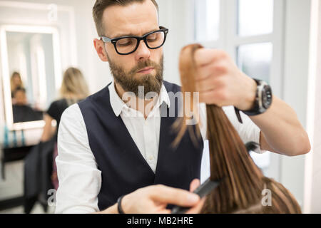 Portrait of focused hairdresser combing customer hair before haircut - Stock Photo