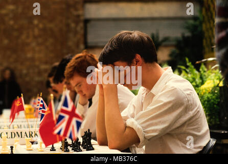 James Howell as Junior British Chess Captain at Goldmark Books Chess Challenge, London England 27 May 1986 James Howell went on to be a Chess Grandmaster as well as an author on chess. - Stock Photo