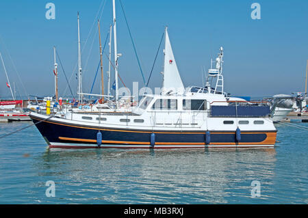 Motor Boat, Yarmouth Harbour, Isle of Wight, Hampshire, England, - Stock Photo