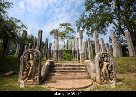 Horizontal view of Thuparamaya Bodhigara in Anuradhapura, Sri Lanka. - Stock Photo
