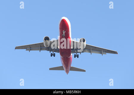 ISTANBUL, TURKEY - JANUARY 06, 2018: AtlasGlobal Airbus A319-112 (CN 1124) landing to Istanbul Ataturk Airport. AtlasGlobal is a Turkish airline with  - Stock Photo