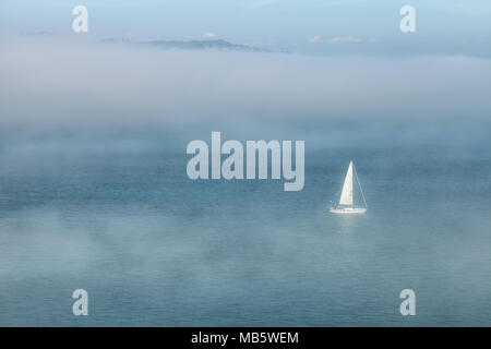 Lone sailboat was sailing amid the low fog in San Francisco Bay on an early spring morning, California, United States. - Stock Photo