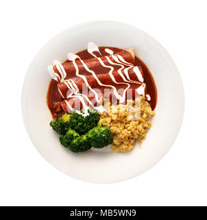 Enchiladas in red sauce with steamed broccoli and corn isolated over white background. - Stock Photo