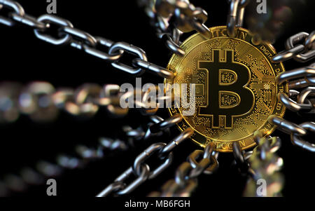 Bitcoin trapped with chains - cryptocurrencies in trouble concept. Bans, restrictions, taxes, illegal. 3D rendering - Stock Photo