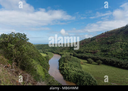 Picturesque Wailua River vista after a major rainstorm on Kauai, Hawaii - Stock Photo