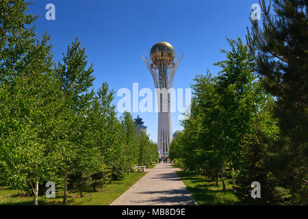 Bayterek Tower, a monument and observation tower in Astana, the capital city of Kazakhstan. - Stock Photo