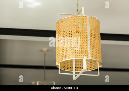 Lamp ceiling made of bamboo - Stock Photo