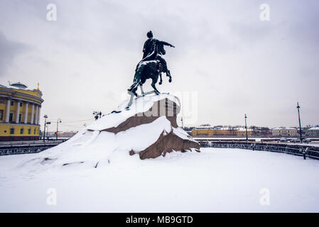 The Bronze Horseman, a statue of Peter the Great in Saint Petersburg, Russia - Stock Photo