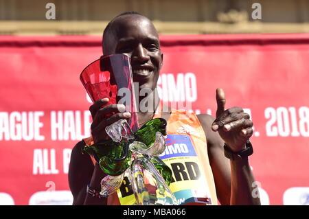 Prague, Czech Republic. 07th Apr, 2018. Kenyan runner Bernard Kimeli celebrates his win of the Prague Half Marathon in Prague, Czech Republic, on April 7, 2018. Credit: Roman Vondrous/CTK Photo/Alamy Live News - Stock Photo